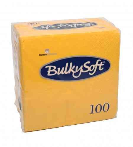 Bulkysoft servet 2-lgs 24 x 24 cm 1/4 geel, 3000 stuks