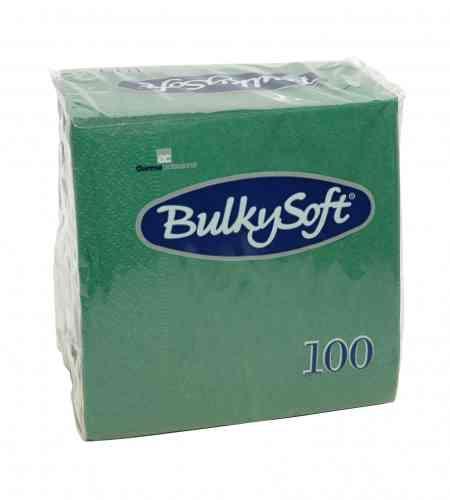 Bulkysoft servet 2-lgs 24 x 24 cm 1/4 groen, 3000 stuks