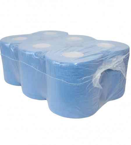 Poetspapier midi 2-lgs blauw 150 mtr x 20 cm geperforeerd, 6 rollen