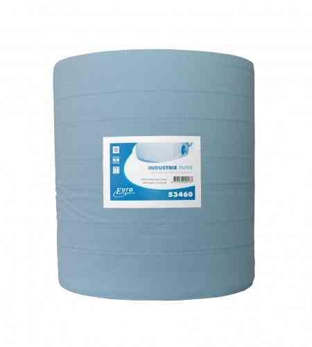 Industriepapier 3-lgs blauw RT 400 mtr x 37 cm, per rol