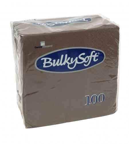 Bulkysoft servet 2-lgs 24 x 24 cm 1/4 bruin, 3000 stuks