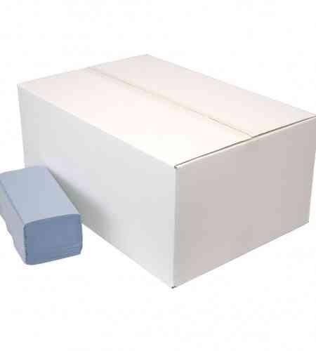 Handdoekpapier Z-vouw 1-lgs blauw 23 x 25 cm, 5000 stuks