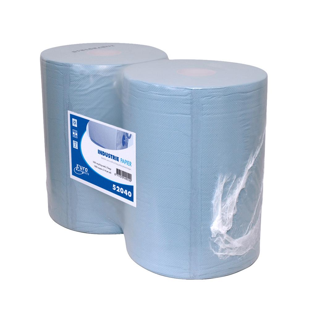 Industriepapier 2-lgs blauw RT 400 mtr x 37 cm, 2 rollen