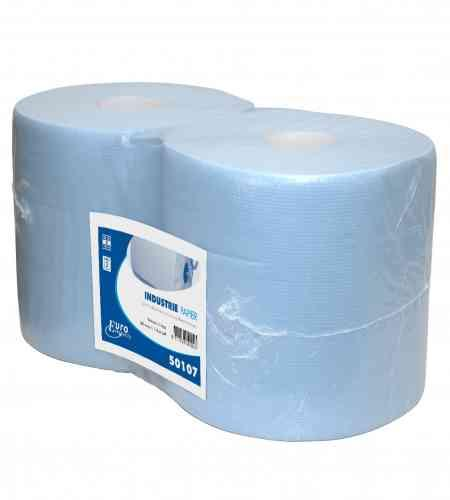 Industriepapier 2-lgs blauw 190 mtr x 26 cm, 2 rollen