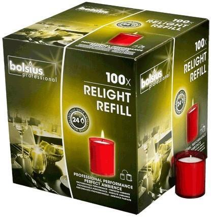 Bolsius Relight navulling rood 24 branduren, 100 stuks