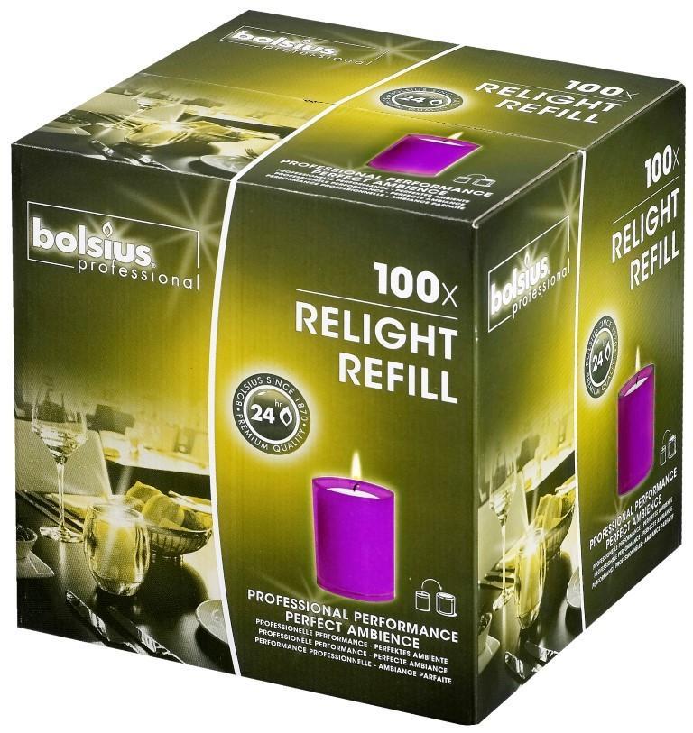 Bolsius Relight navulling paars 24 branduren, 100 stuks