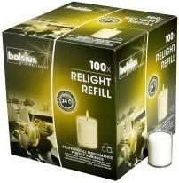 Bolsius ReLight navulling transparant 24 branduren, 100 stuks