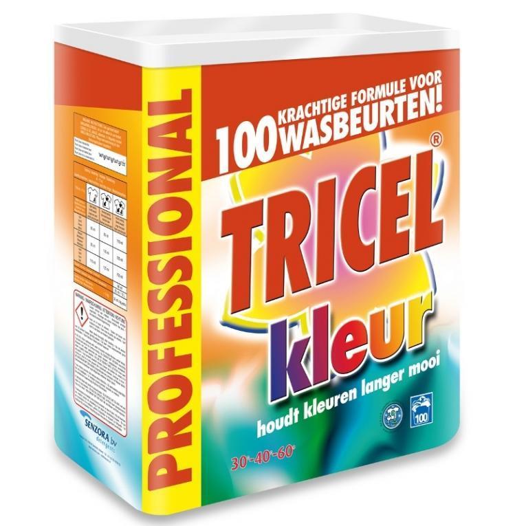 Tricel waspoeder Color 100sc, bleekvrij 7,5 kg
