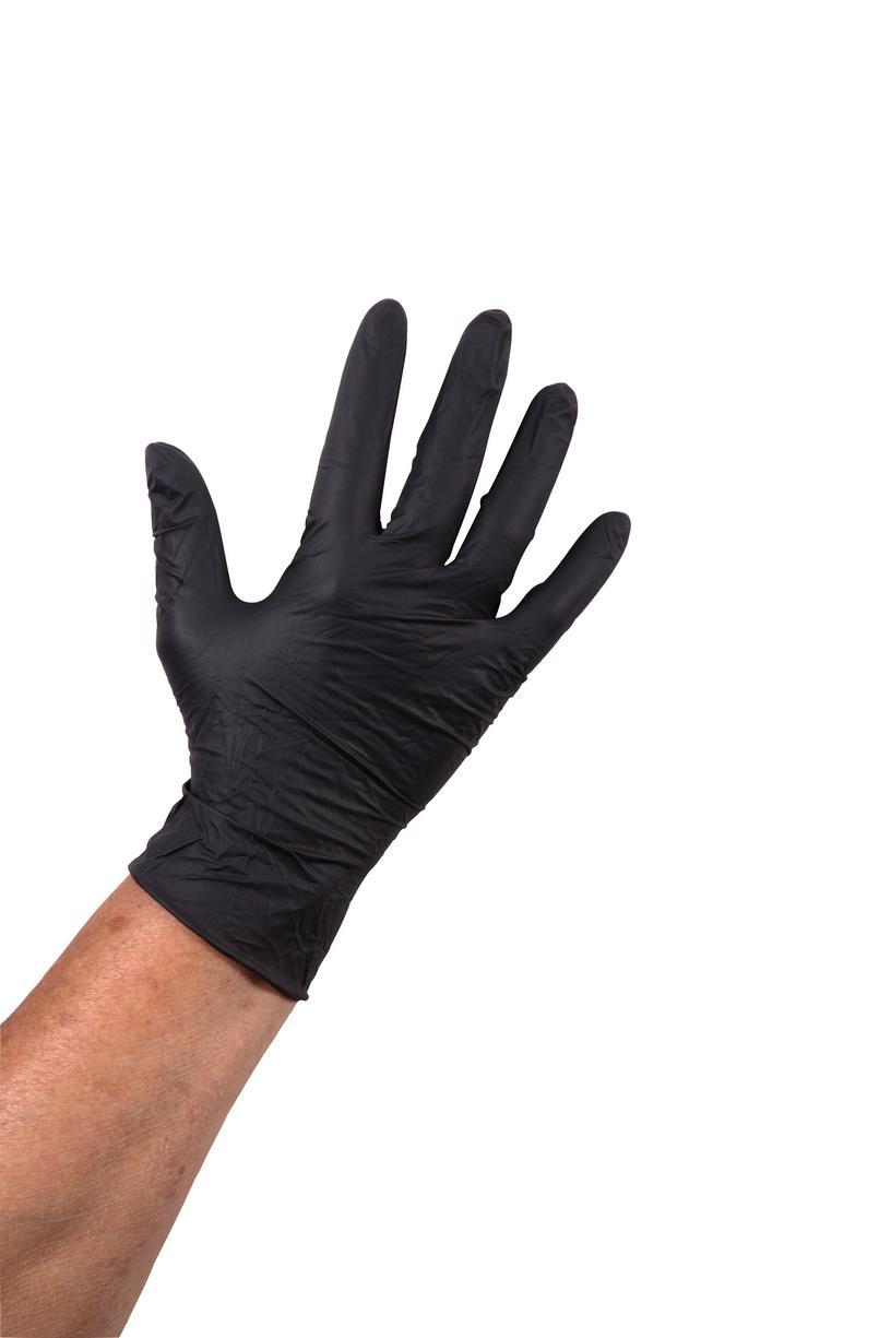 Handschoen nitril poedervrij zwart XL 100 stuks.
