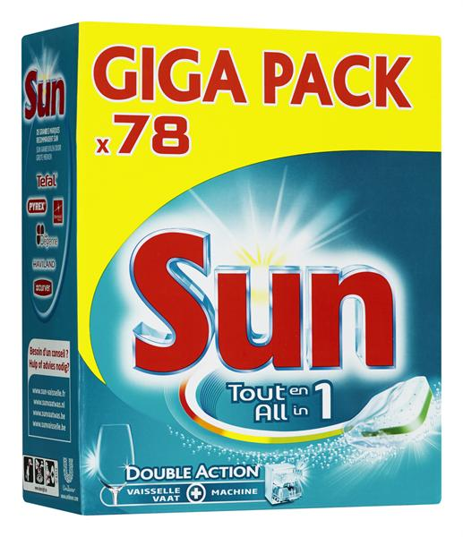 Sun All-in-One vaatwastabletten, 78 stuks