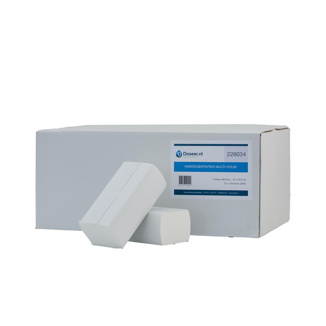 Doseer.nl handdoekpapier Multifold 2-lgs 32 x 20.6 cm, 3000 stuks