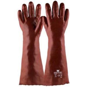 Werkhandschoen PVC rood 450 mm, maat 10