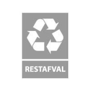 Afvalscheiding sticker restafval, 210 x 148 mm. A5 standaard vinyl.