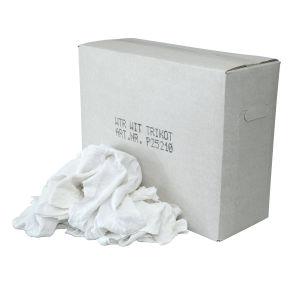 Poetslappen WTR Witte tricot lappen met een gekleurd randje, doos 10 kg