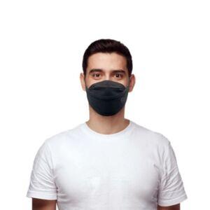 Ribcap mondmasker herbruikbaar zwart, maat L